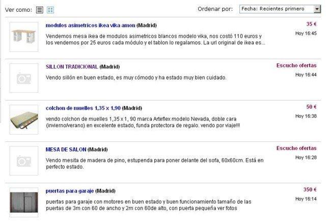 Captura de pantalla de Ebay Anuncios
