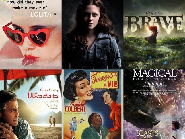 Carteles de Lolita, Crepúsculo, Brave, Los Descendientes, Imitación de la Vida y Bestias del Sur Salvaje