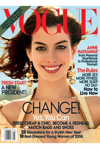 Anne Hathaway viste de Prada en la portada de Vogue USA enero 2009