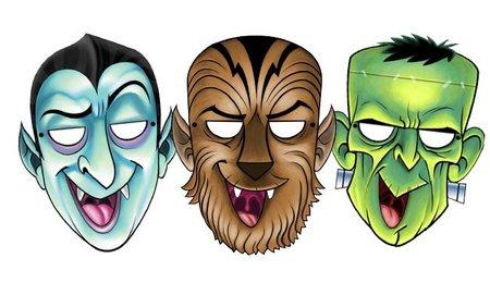 Máscaras de Halloween para imprimir: Drácula, el Hombre Lobo y Frankenstein
