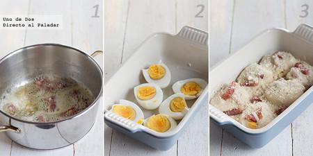 Huevos con bechamel. Receta