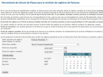 Nueva calculadora para conocer los plazos del SII de la Agencia Tributaria