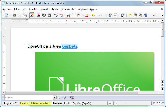 LibreOffice 3.6.0 contador de palabras en la barra de estado