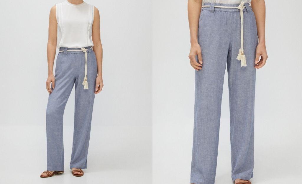 Pantalón casual de lino azul