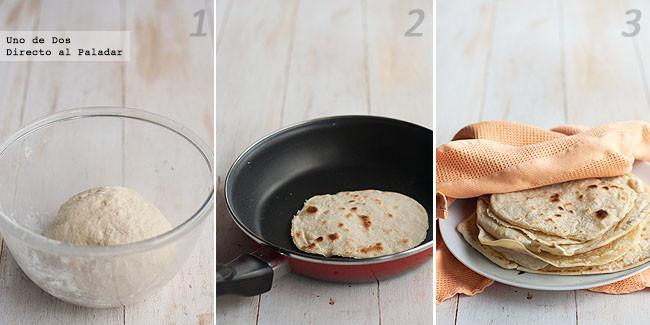 Tortillas de harina para fajitas. Receta mexicana paso a paso