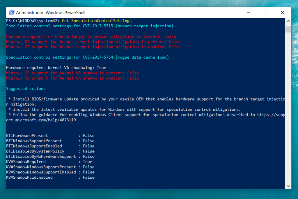 Windows Powershell Comprobar Meltdown Spectre Windows 10