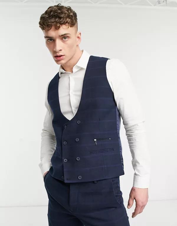 Chaleco de traje azul marino ajustado mezcla de lana de Bolongaro Trevor