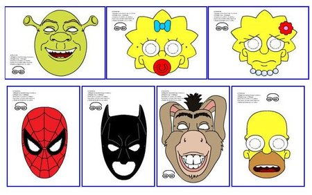 Máscaras de carnaval para imprimir de personajes conocidos