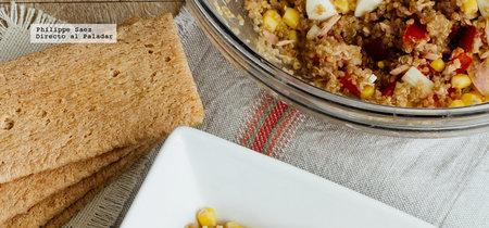 Ensalada de quinoa y atún. Receta fácil y saludable