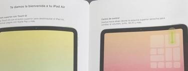 Un manual muestra un supuesto iPad Air 4 sin marcos, con USB-C y Touch ID en el botón de bloqueo