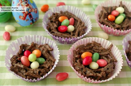 Nidos de Pascua crujientes de chocolate. Receta de Semana Santa