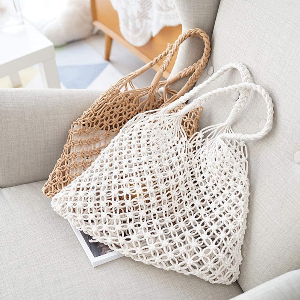 LIOOBO Bolso de mano de punto de crochet, bolso de hombro, bolsa de playa de verano, bolsa de hombro clásica vintage para mujeres y niñas (blanco)