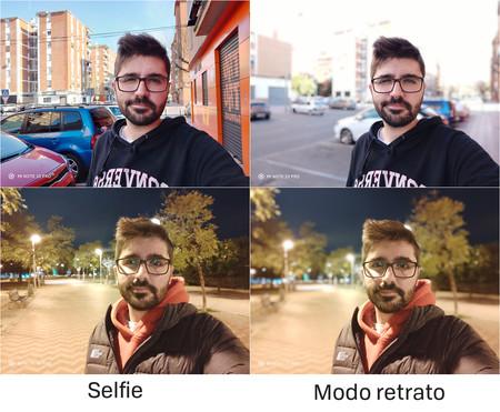 Comparativa de selfies y selfies con el modo retrato de día y de noche.