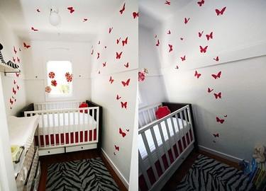 Mariposas hasta el techo en una pequeña habitación infantil