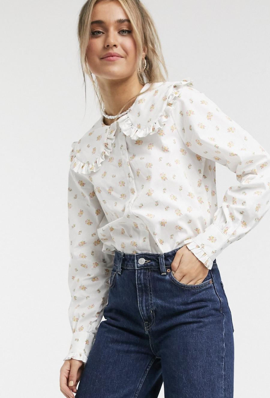 Camisa multicolor de algodón orgánico con cuello extragrande y estampado floral Maddy de Monki