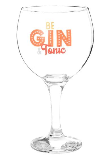 Copa de gin-tonic de cristal con estampado naranja - Lote de 6