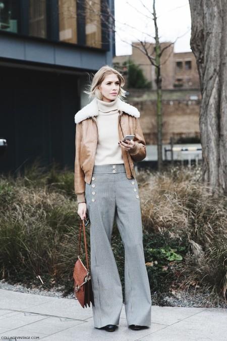 London Fashion Week Fall Winter 2015 Street Style Lfw Collage Vintage Elena Perminova Chloe Aviator Jacket Flared Trousers 1 790x1185