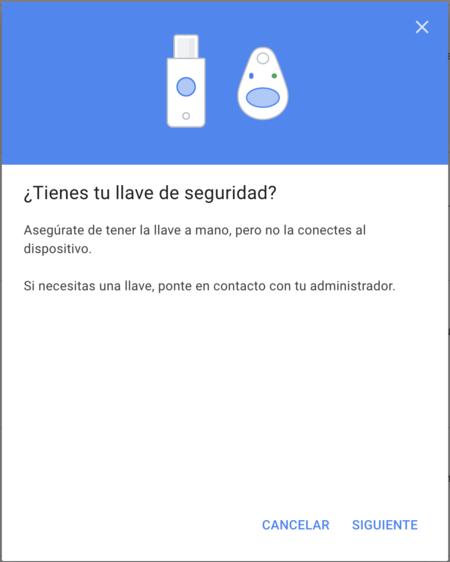 Configuracion Llave Seguridad Google