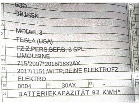 Tesal Model 3 82 kWh