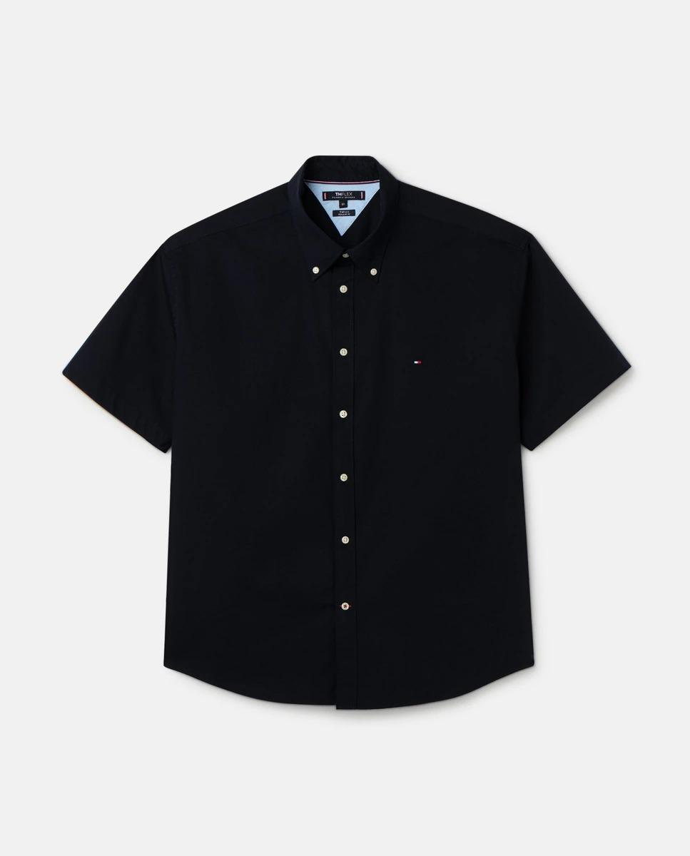 Camisa de hombre manga corta popelín regular fit en azul marino tallas grandes