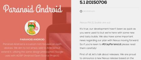 Paranoid Android 5.1 ya está entre nosotros, aunque le ha costado por falta de personal
