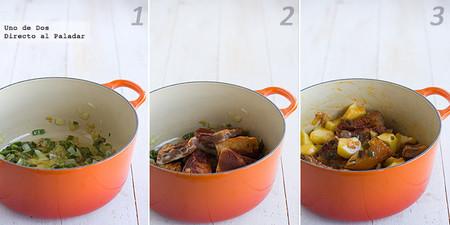 Receta de patatas con costilla adobada paso a paso