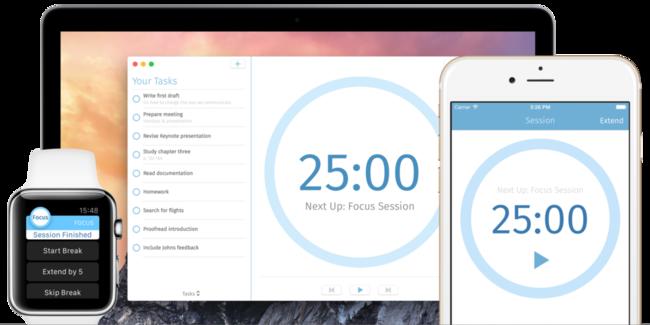 Focus, el cronómetro omnipresente para los que buscan mejorar su productividad en iOS y OS X