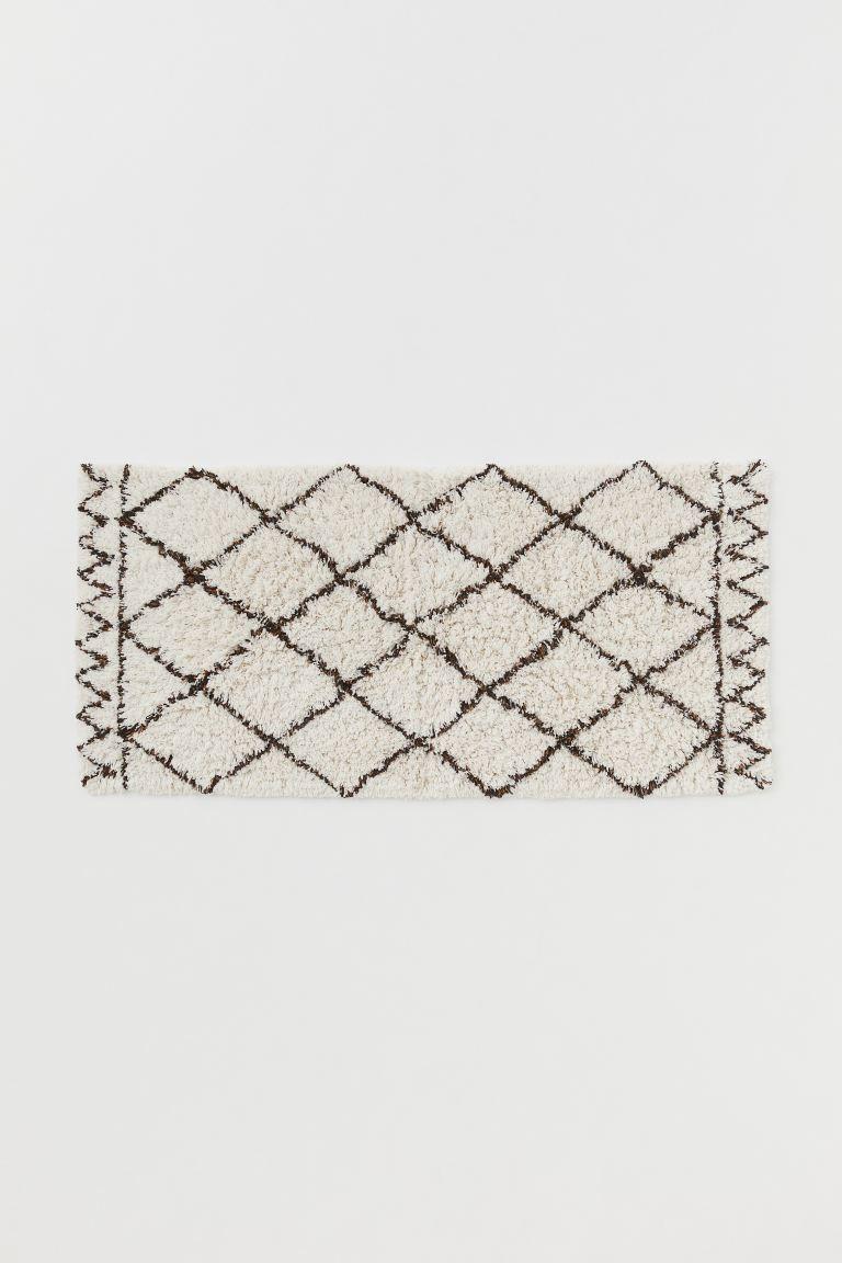 Alfombra de baño grande de forma rectangular en tejido de algodón de pelo largo