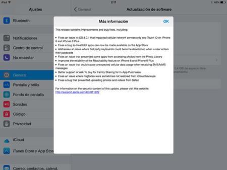 iOS 8.0.2 ya disponible. Apple soluciona los fallos de la anterior actualización