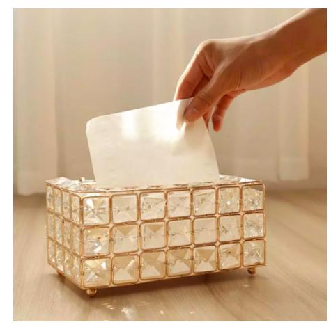 Caja de pañuelos de cristal artificial para tocador