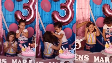 El vídeo viral en el que dos hermanas se pelean por soplar la vela de la tarta de cumpleaños: por qué no es gracioso