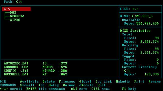 XTree funcionando bajo MS-DOS