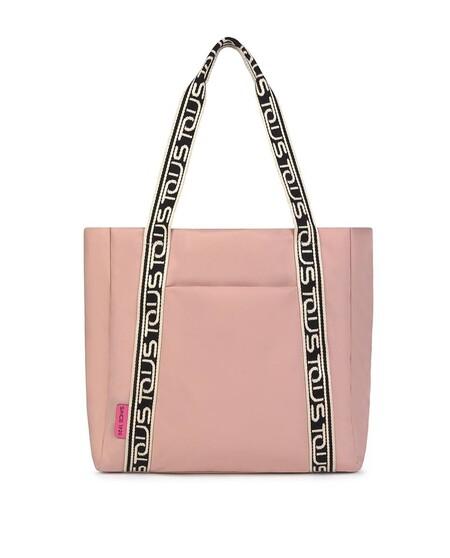 Bolso De Hombro Tous Shelby De Nylon Reciclado En Color Rosa