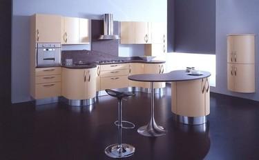 Geosfera, cocina curva y simétrica, funcional y moderna