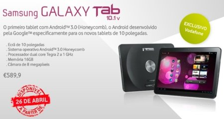 Samsung Galaxy Tab 10.1 disponible en Vodafone Portugal por 590€
