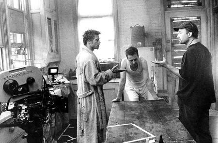 David Fincher con Brad Pitt y Edward Norton en el set de Fight Club