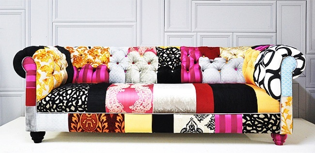Un sof chester de patchwork en colores intensos para la for Sofas bonitos y baratos