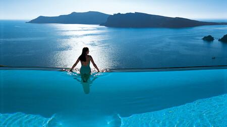 Piscina infinita Santorini