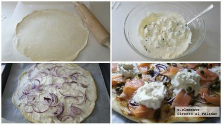 Pizza de salmón ahumado, alcaparras y mascarpone