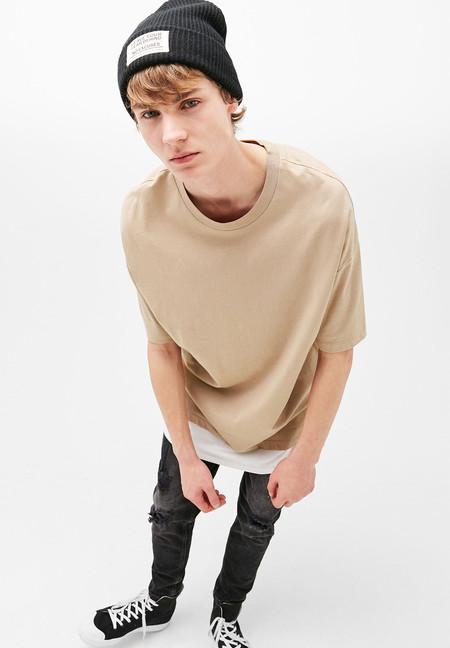 Camiseta oversize a dos tonos de Bershka