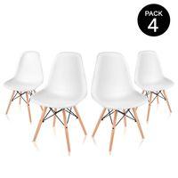 ¿Necesitas amueblar tu comedor? pack de cuatro sillas de comedor blancas de diseño nórdico McHaus por 49 euros en eBay
