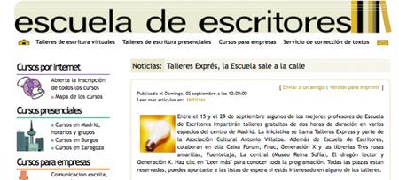 Los 'Talleres Exprés' de la Escuela de Escritores toman Madrid