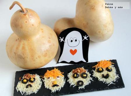 Caras horripilantes de queso hechas por niños para Halloween