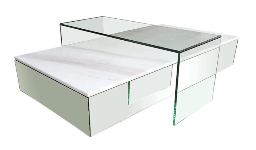Mesa baja de mármol blanco y cristal Lucio