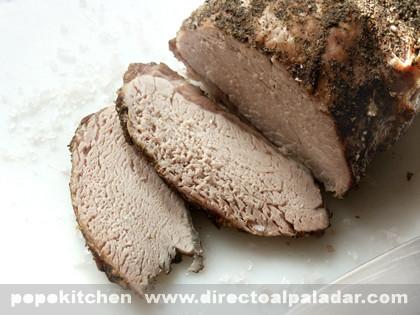 Lomo asado de cerdo a la sal. Receta
