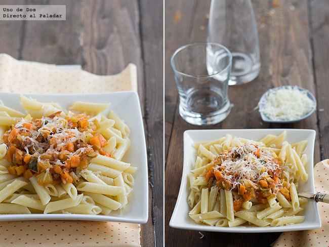 Receta de macarrones con verduras