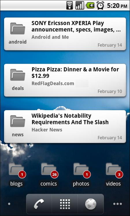 Google Reader para Android introduce sus Widgets en una nueva y polémica actualización