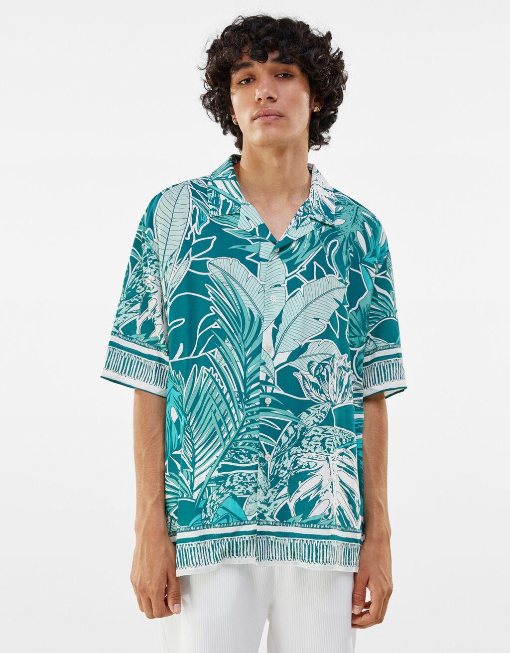 Camisa verde Bershka