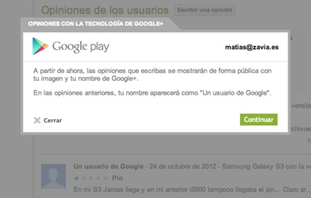 Desde hoy, tus opiniones en Play Store irán firmadas con tu perfil público de Google+