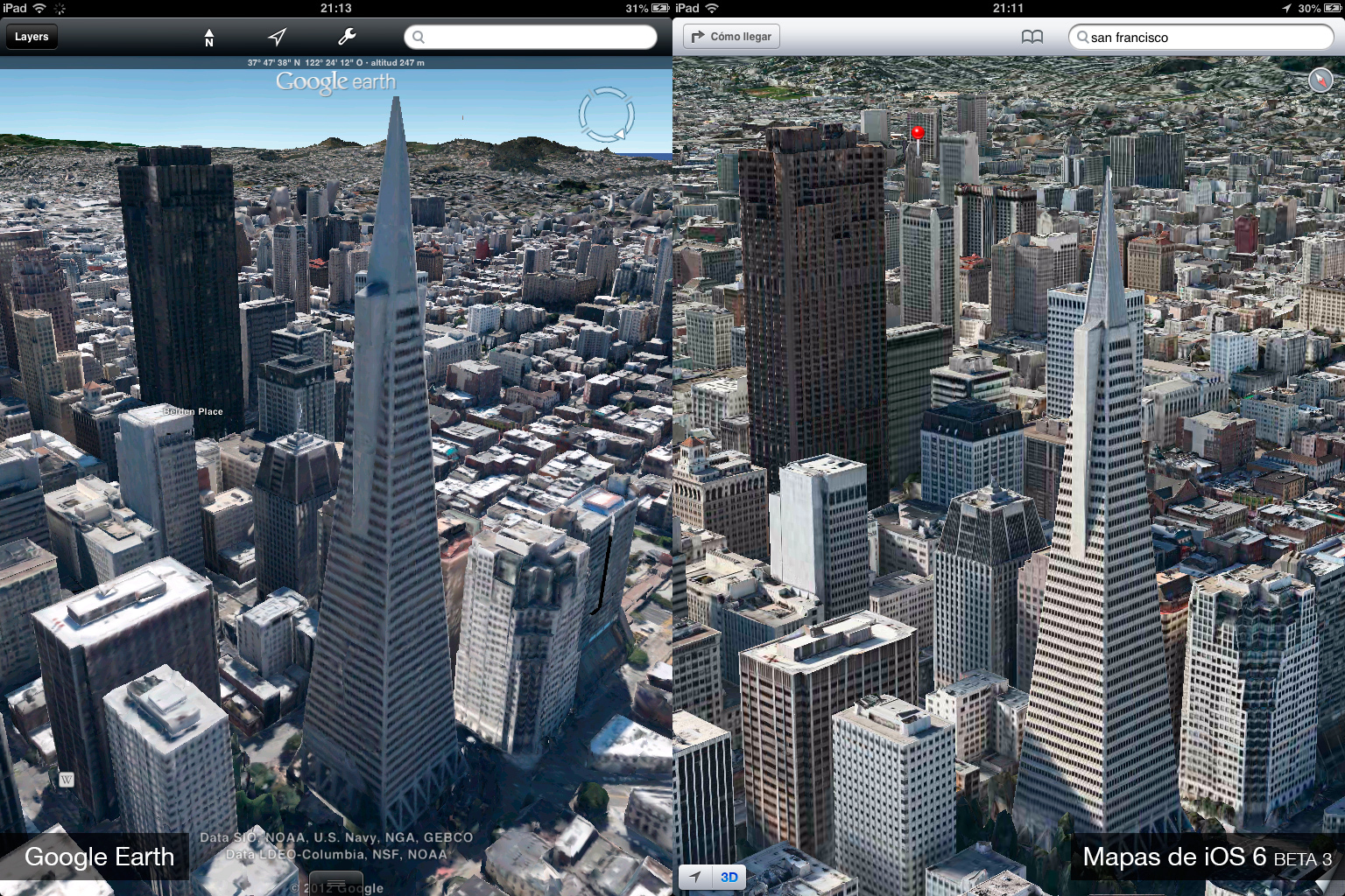 Foto de Google Earth 7.0 contra Mapas de iOS 6 (beta 3) (6/9)
